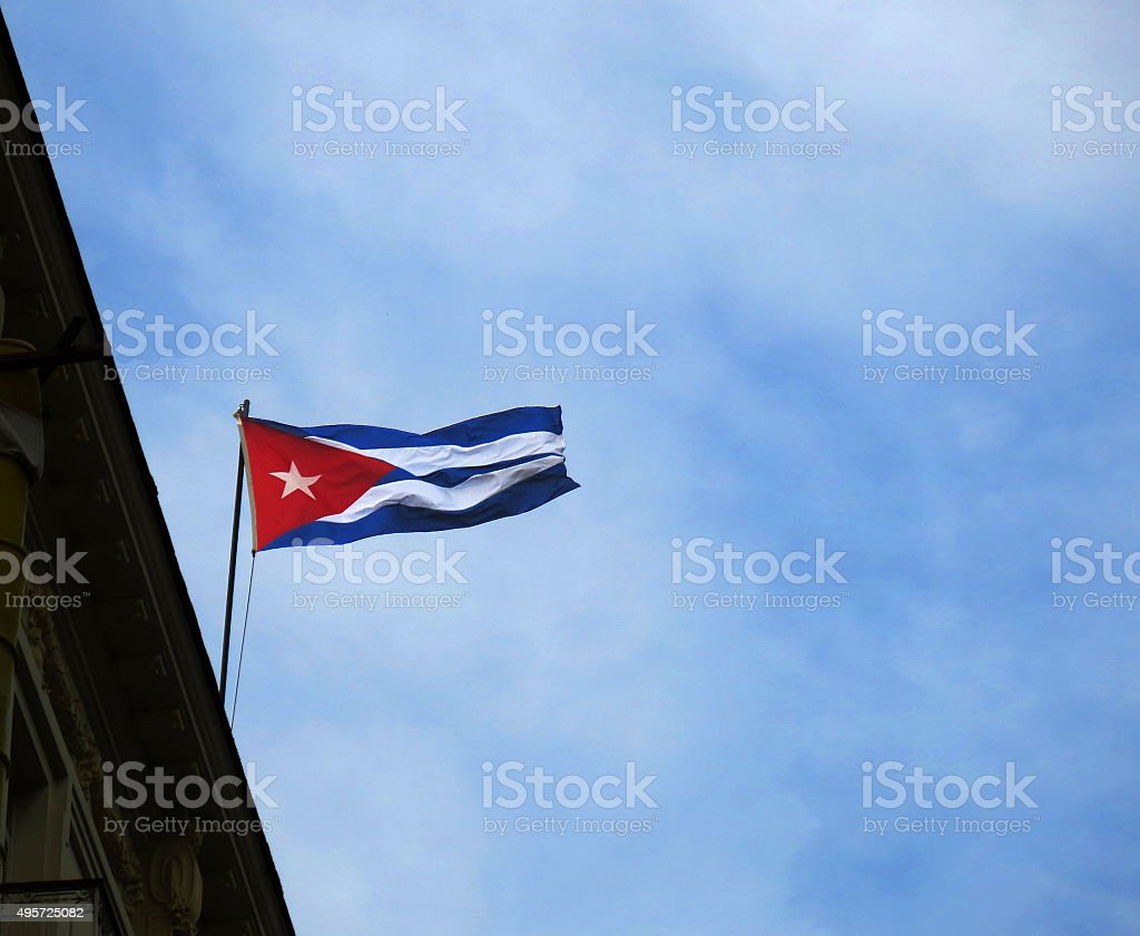 Flag of Cuba in the wind and blue sky stock photo