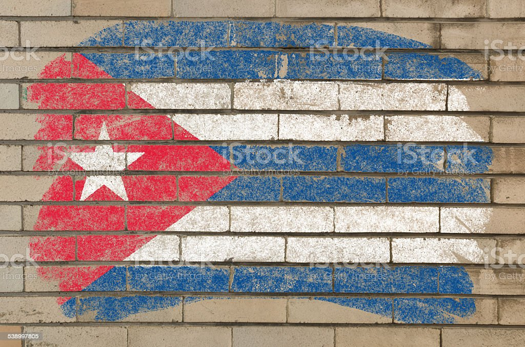 flag of Cuba on grunge brick wall painted with chalk stock photo