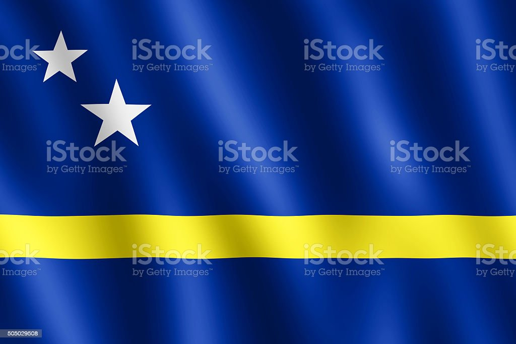 Flag of Curacao waving in the wind stock photo
