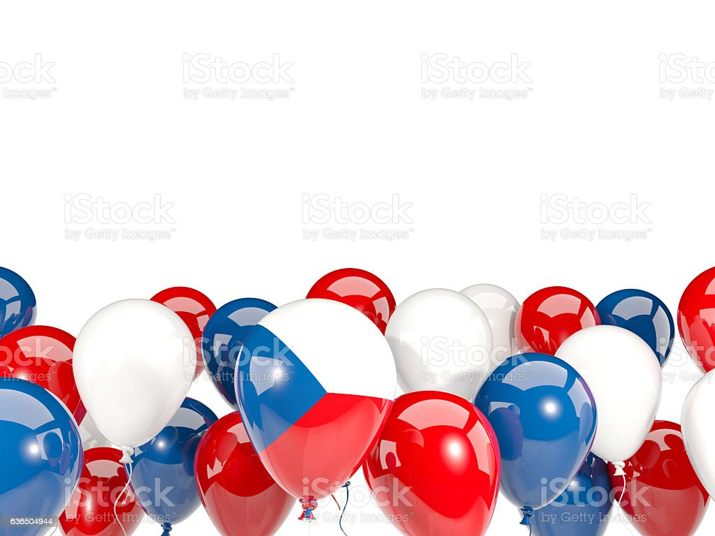 Flag of czech republic with balloons stock photo