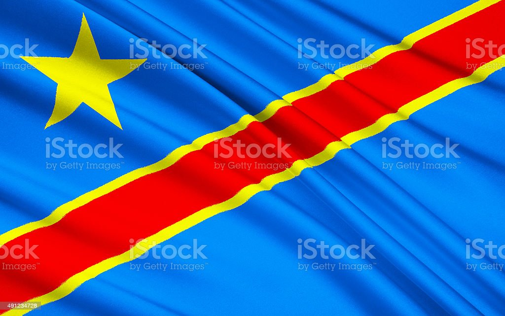 Flag of Democratic Republic of the Congo, Kinshasa stock photo