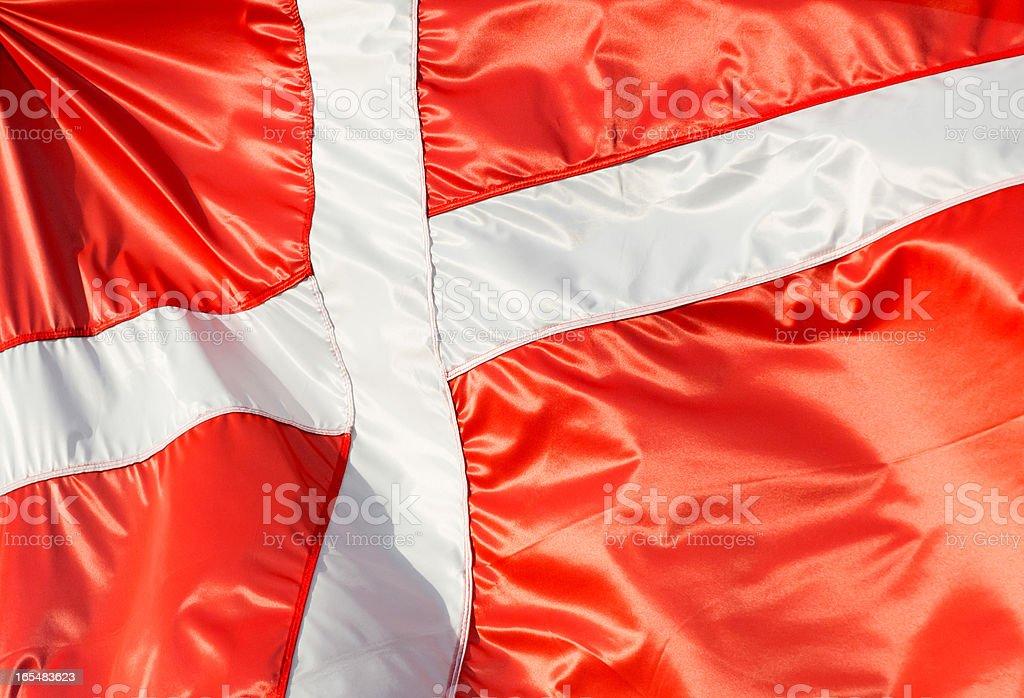 Flag of Denmark in the sunshine royalty-free stock photo