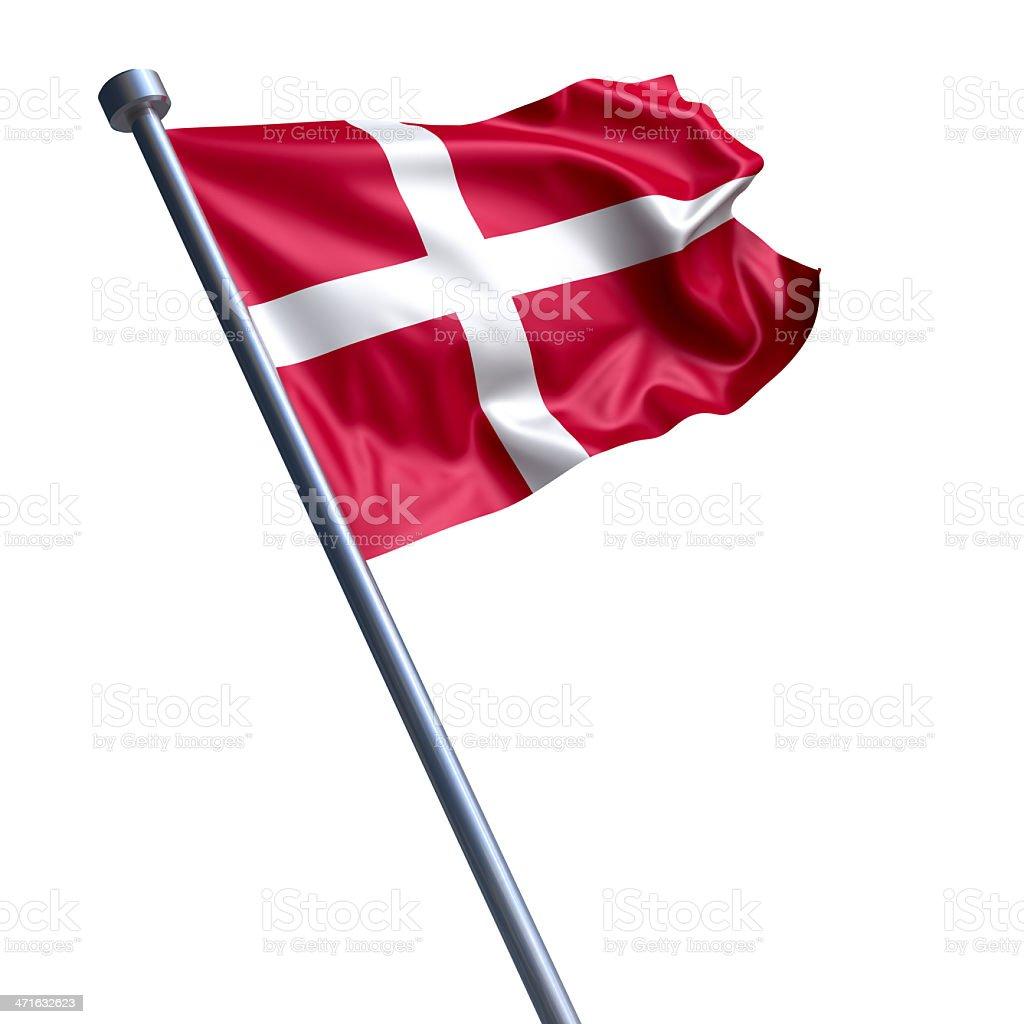 Flag of Denmark isolated on white royalty-free stock photo