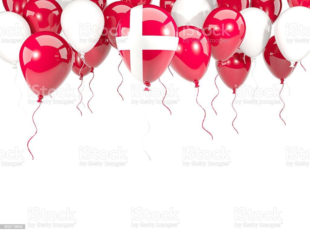 Flag of denmark on balloons stock photo