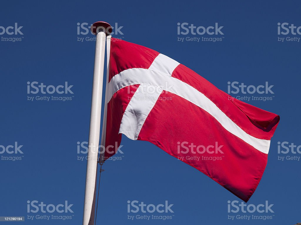 Flag of Denmark up high royalty-free stock photo