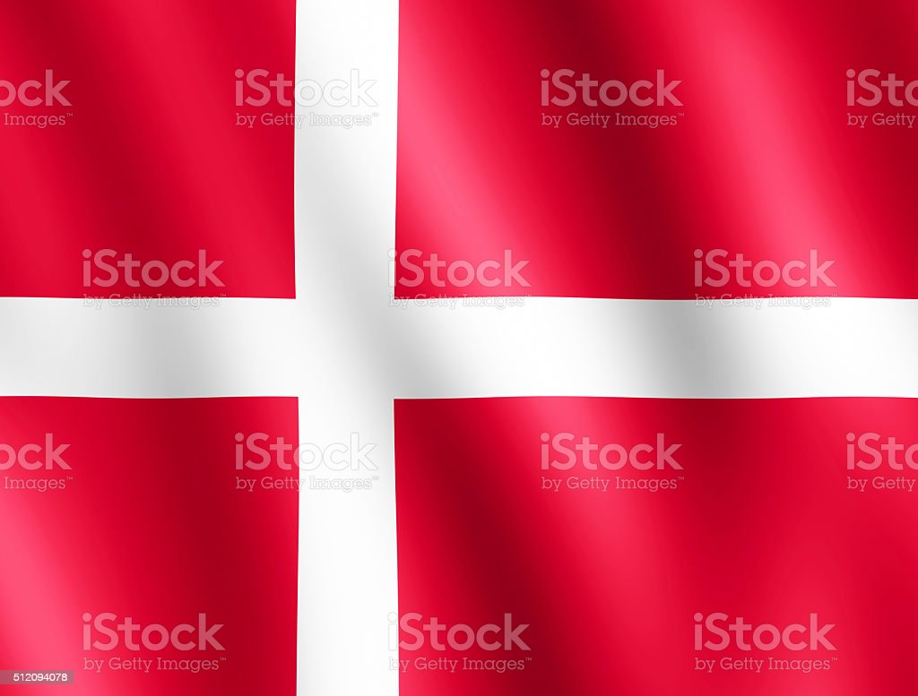 Flag of Denmark waving in the wind stock photo