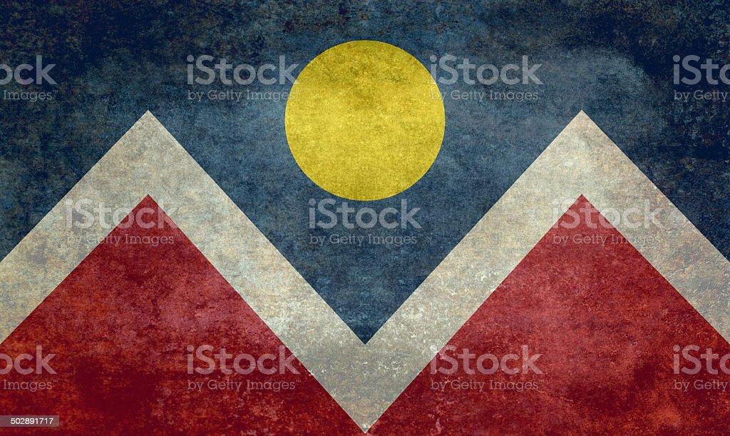Flag of Denver city Colorado, Vintage version stock photo
