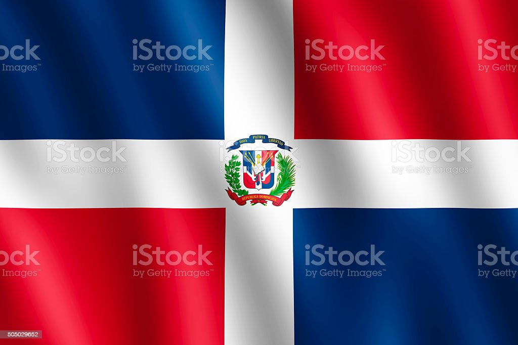 Flag of Dominican Republic waving in the wind stock photo