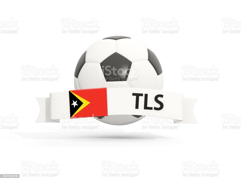 Flag of east timor, football with banner and country code stock photo