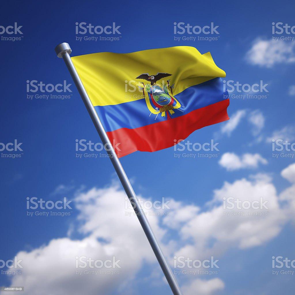 Flag of Ecuador against blue sky stock photo