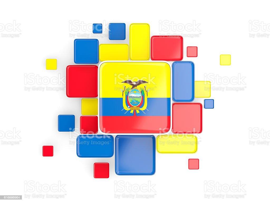 Flag of ecuador, mosaic background stock photo