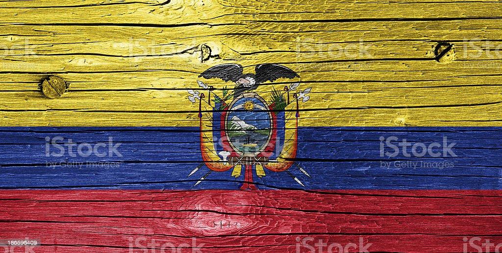 Flag of Ecuador on Wood stock photo