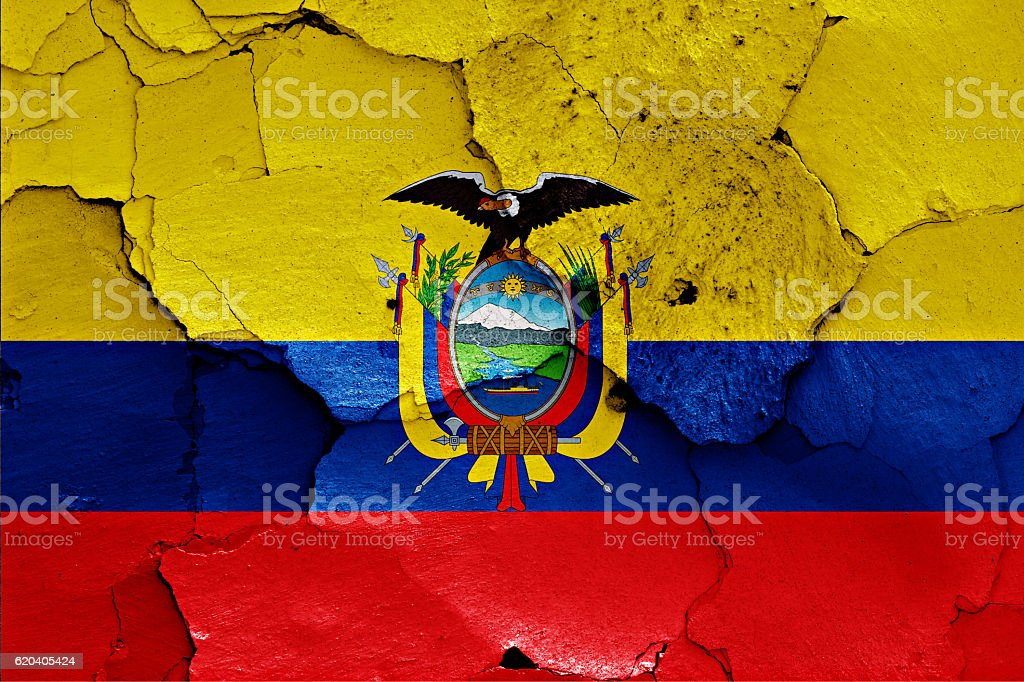 flag of Ecuador painted on cracked wall stock photo