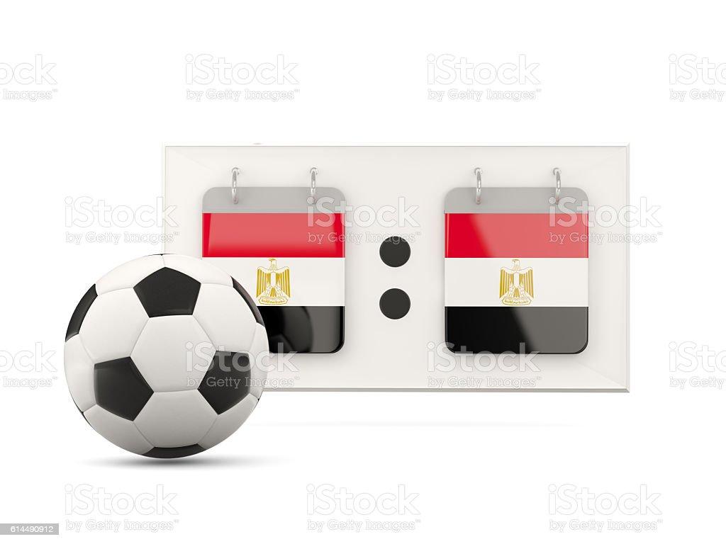 Flag of egypt, football with scoreboard stock photo