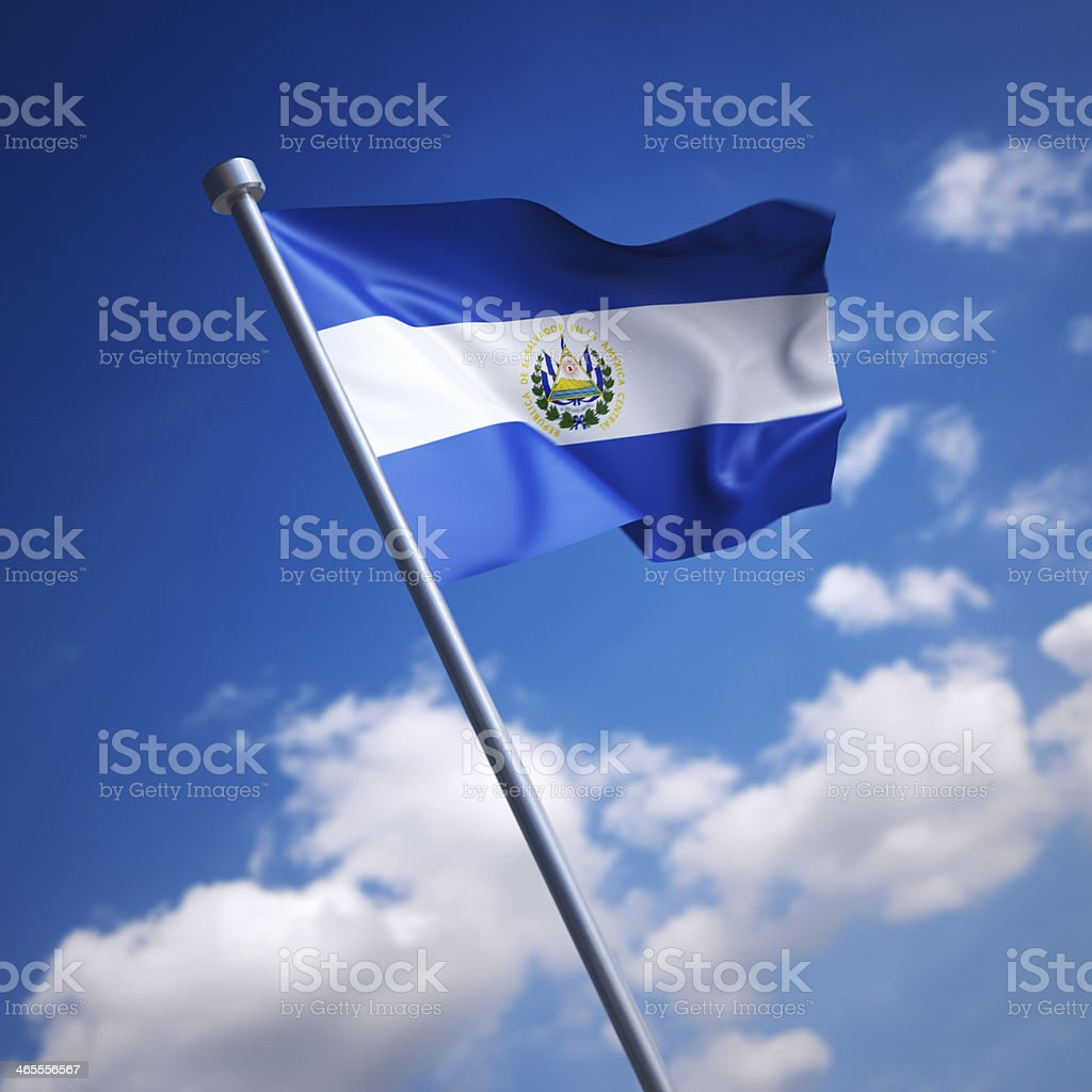 Flag of El Salvador against blue sky stock photo