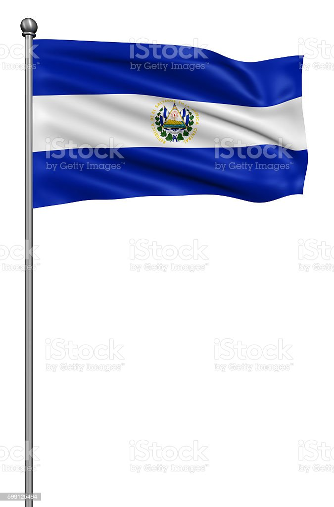 Flag of El Salvador against white background. stock photo