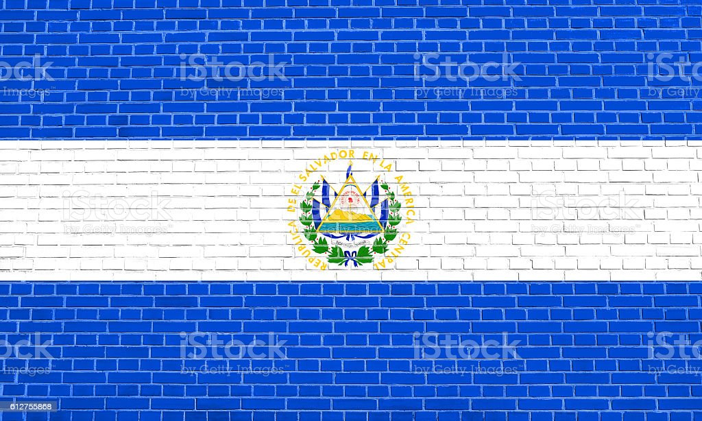 Flag of El Salvador, brick wall texture background stock photo