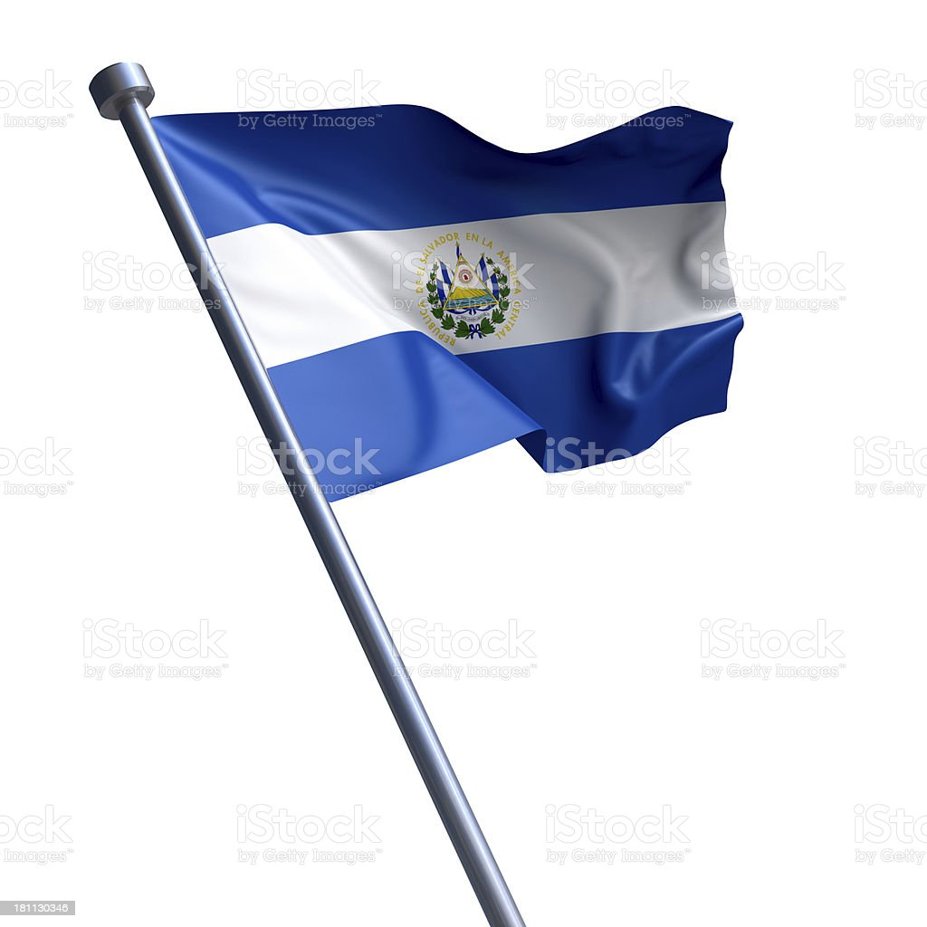 Flag of El Salvador isolated on white stock photo