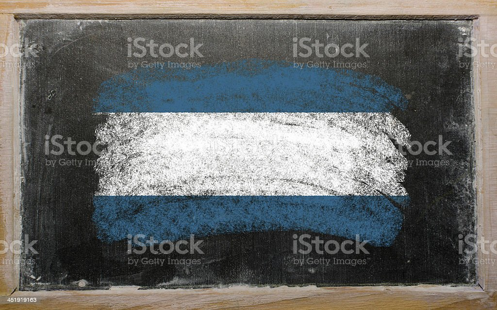flag of El Salvador on blackboard painted with chalk stock photo
