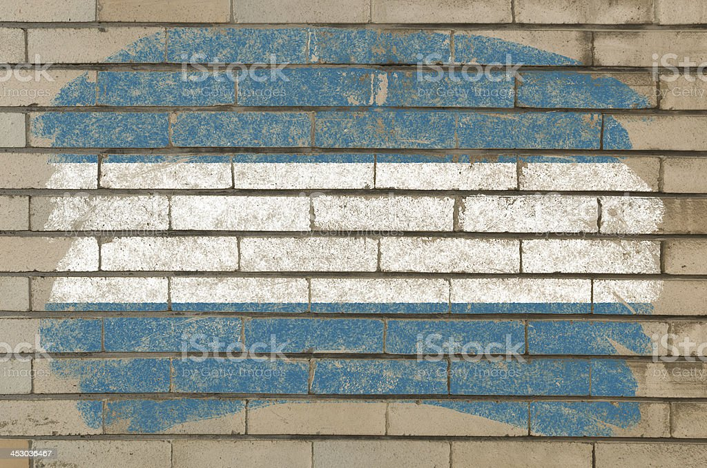 flag of el salvador on grunge brick wall stock photo