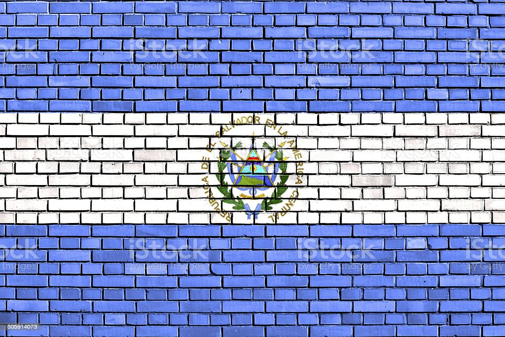 flag of El Salvador painted on brick wall stock photo