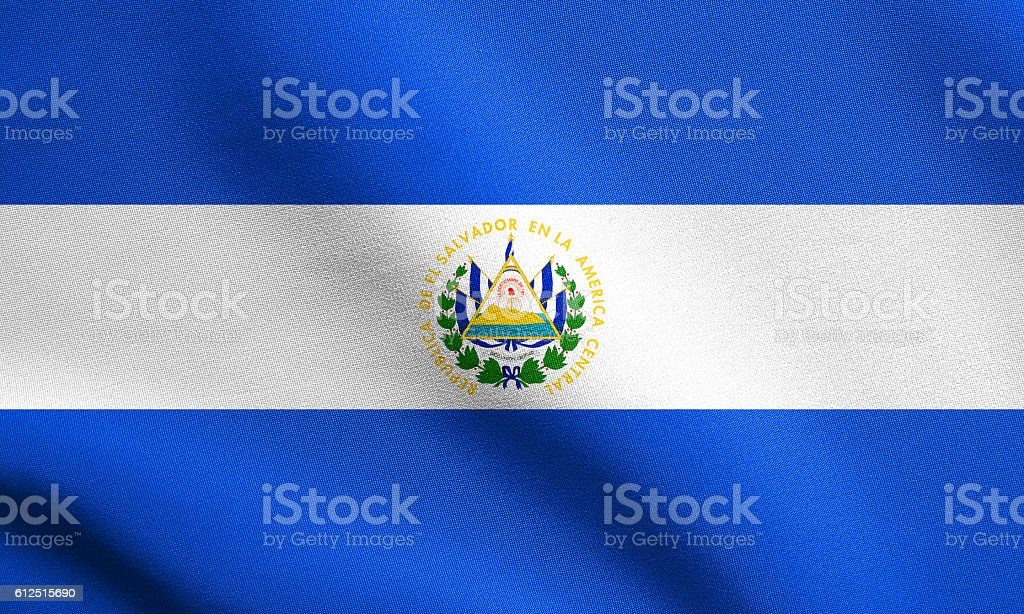 Flag of El Salvador waving with fabric texture stock photo