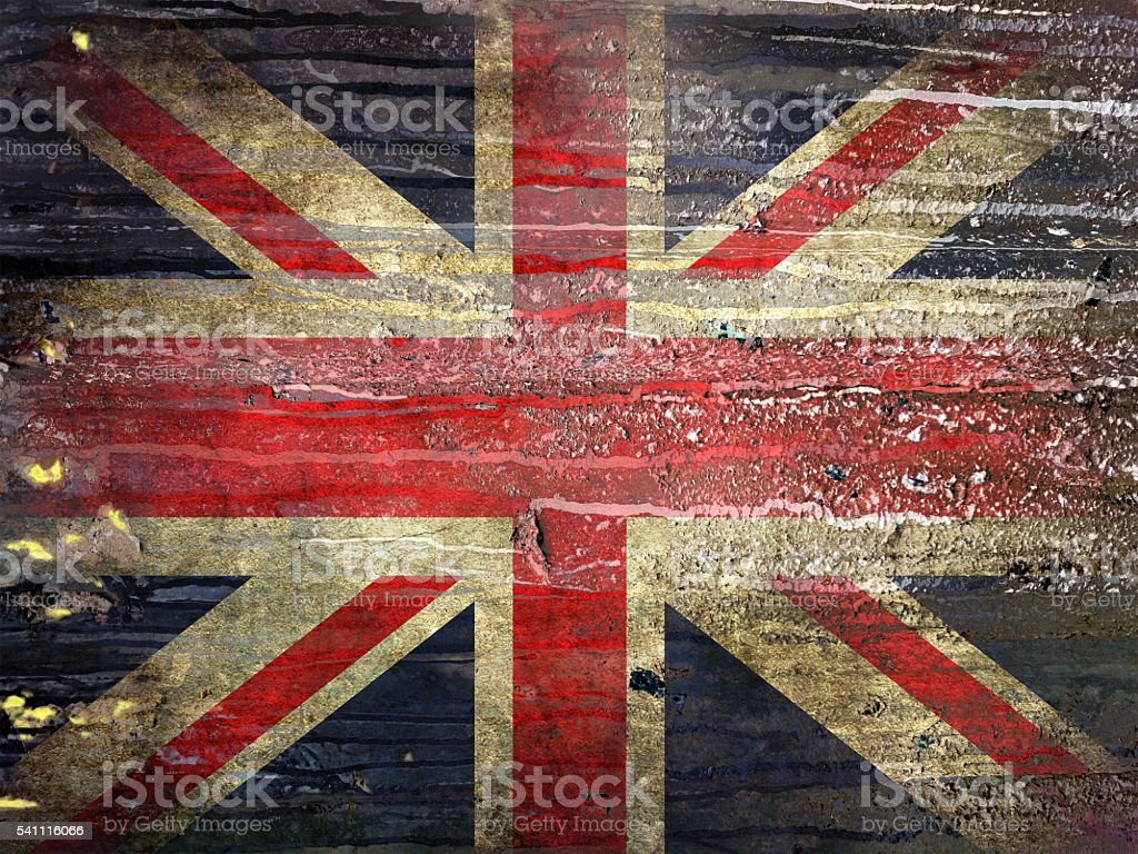 Flag of England painted on a grunge wall. stock photo