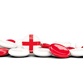 Flag of england, round buttons