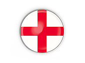 Flag of england, round icon with metal frame