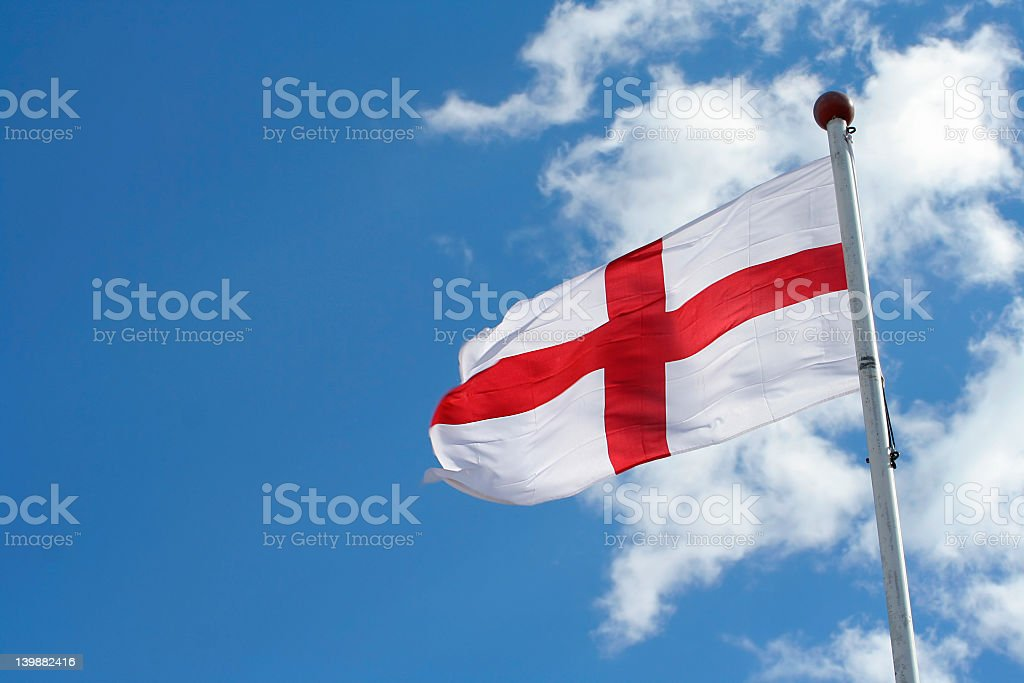 Flag of England waving in the wind stock photo