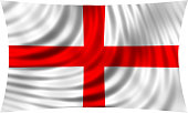 Flag of England waving in wind isolated on white