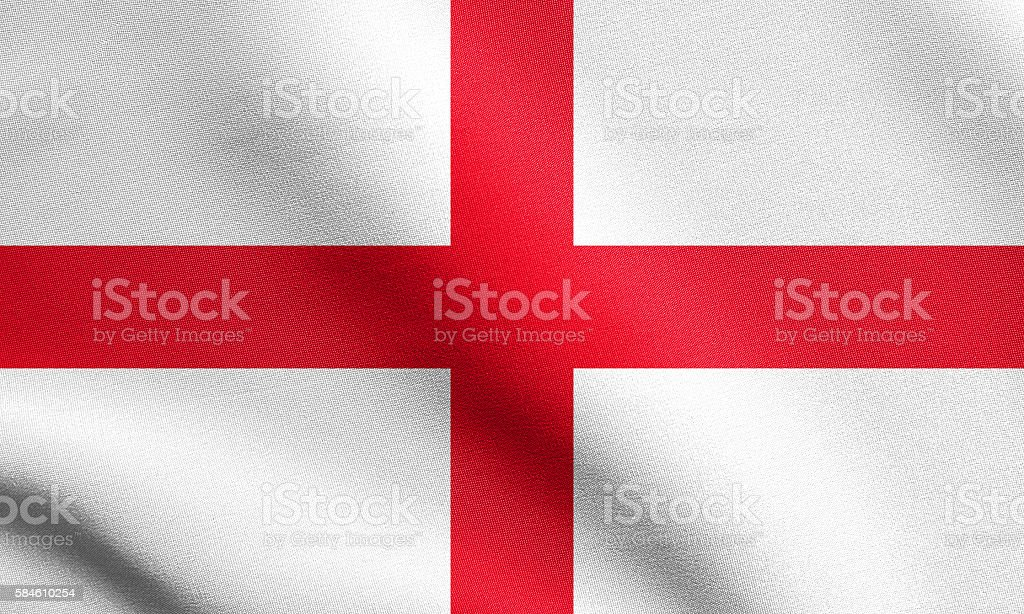 Flag of England waving in wind with fabric texture stock photo