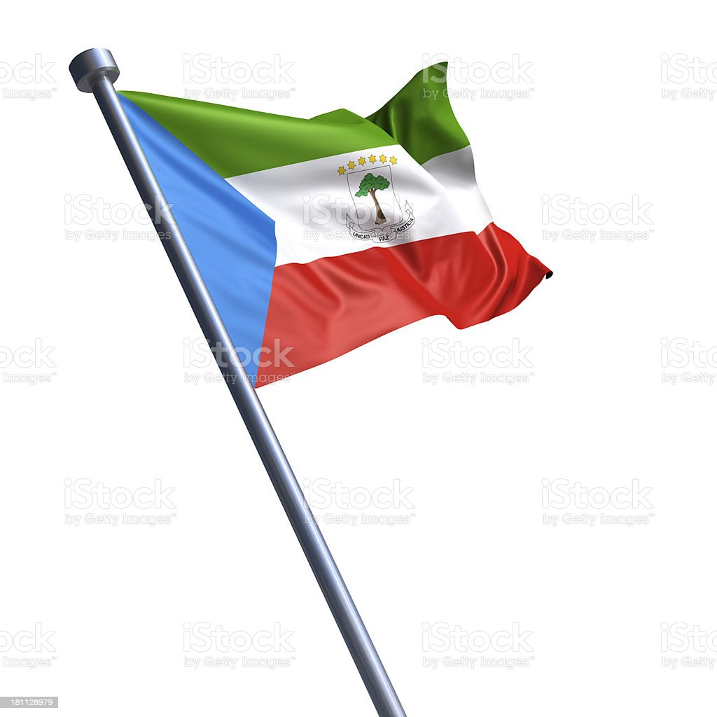 Flag of Equatorial Guinea isolated on white stock photo