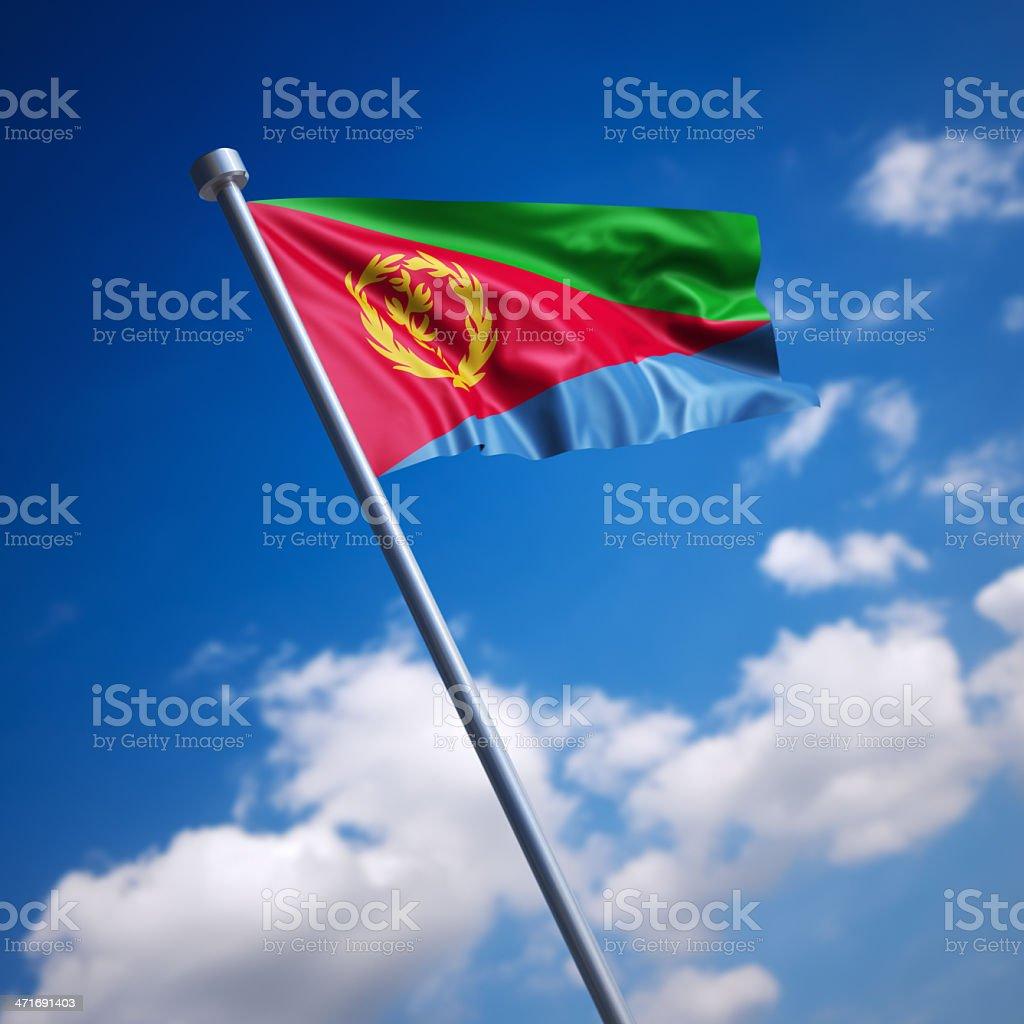 Flag of Eritrea against blue sky stock photo
