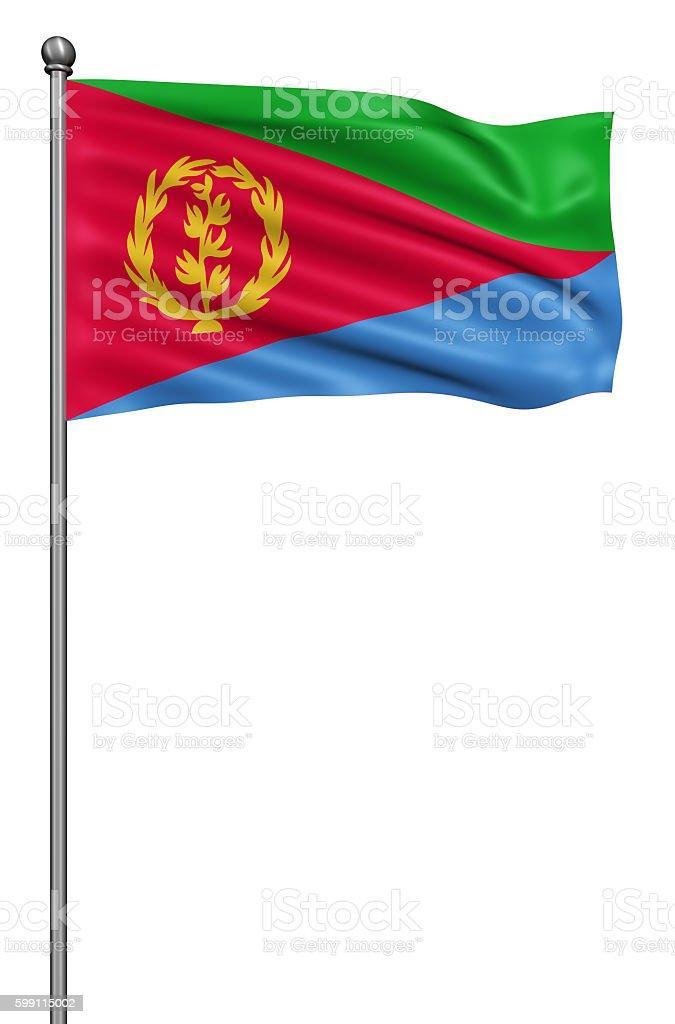 Flag of Eritrea against white background. stock photo