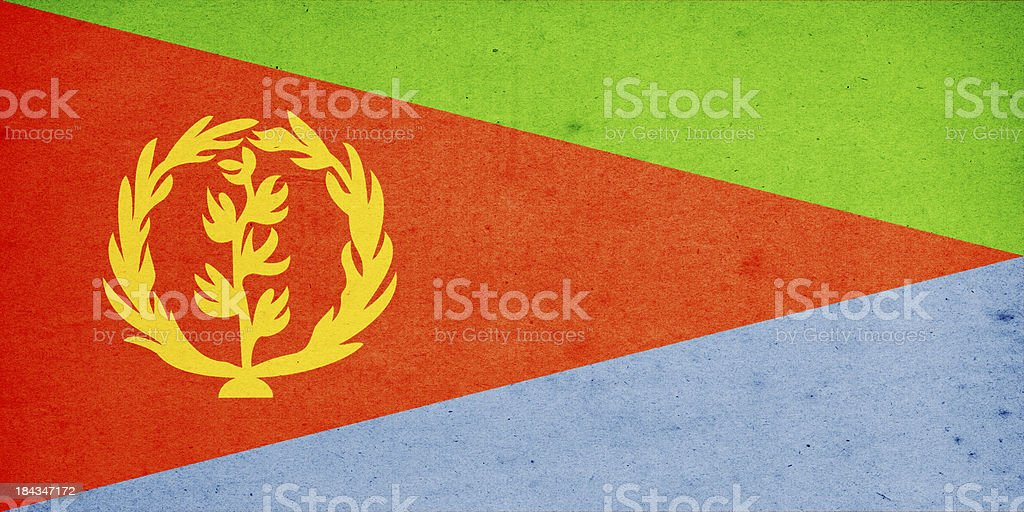 Flag of Eritrea Close-Up (High Resolution Image) stock photo