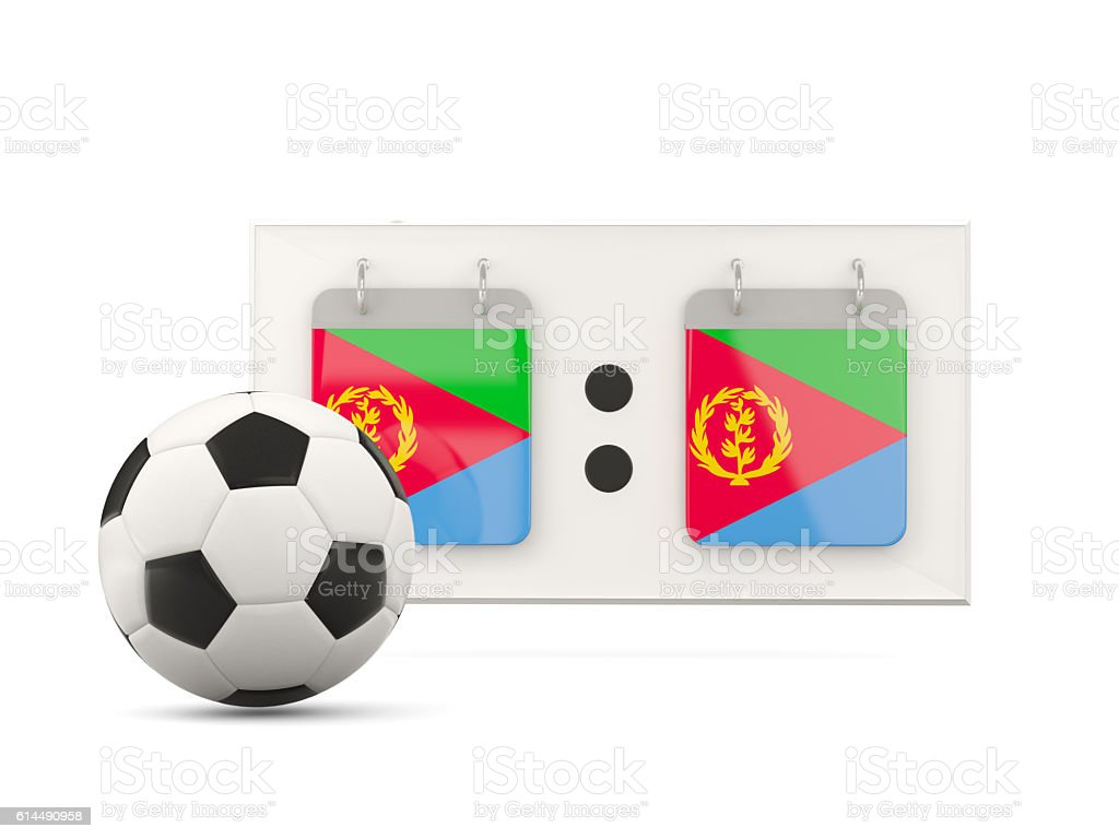Flag of eritrea, football with scoreboard stock photo