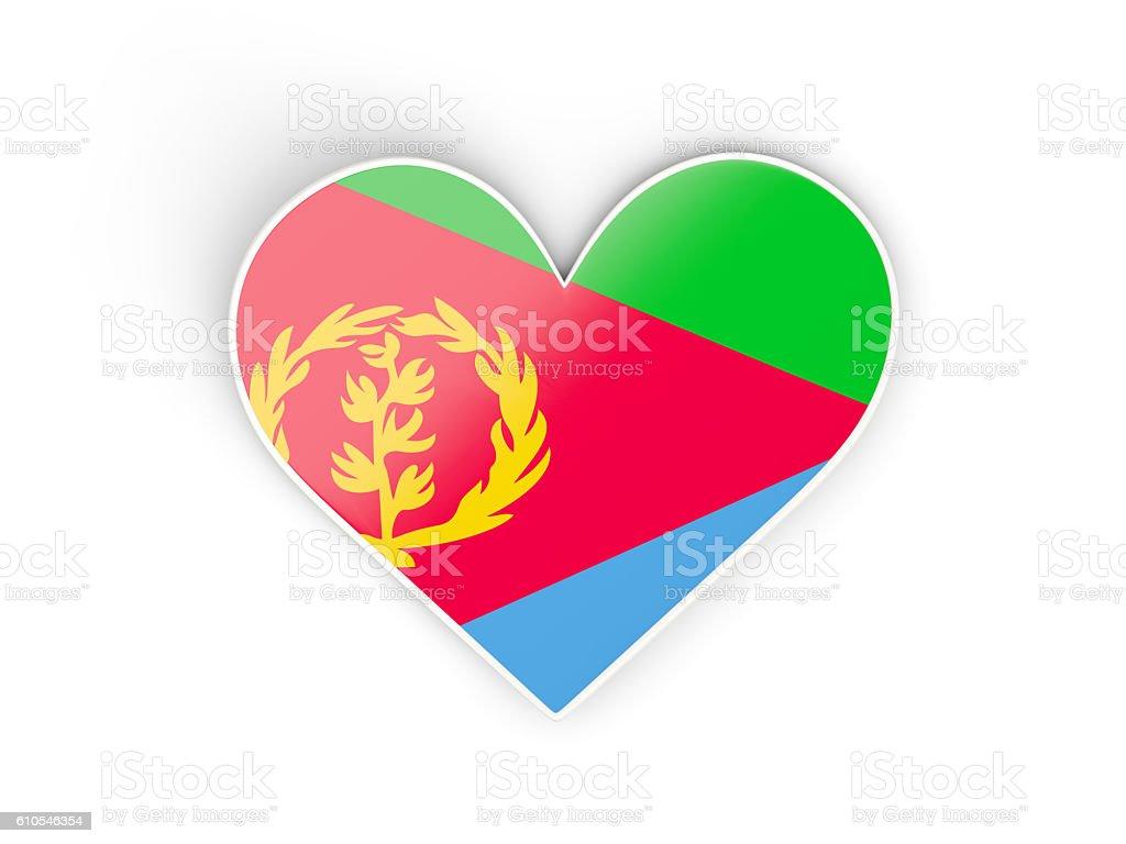 Flag of eritrea, heart shaped sticker stock photo