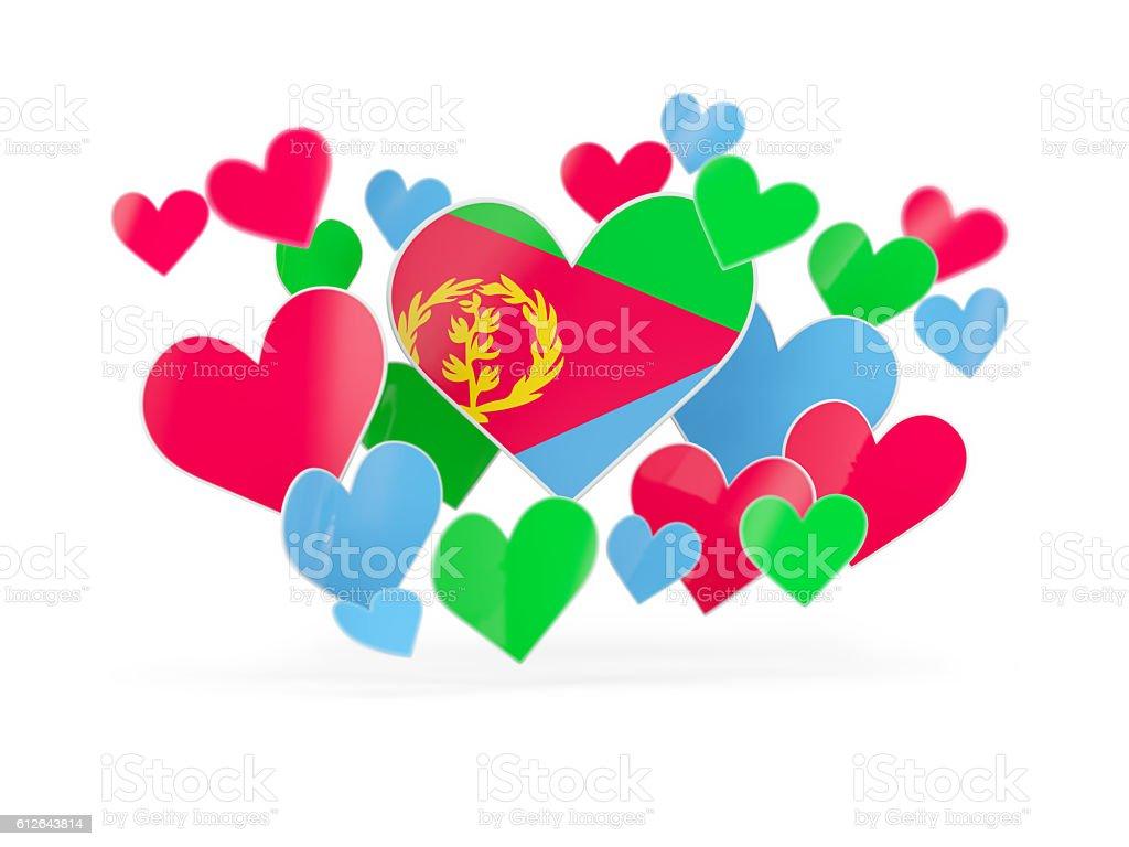 Flag of eritrea, heart shaped stickers stock photo