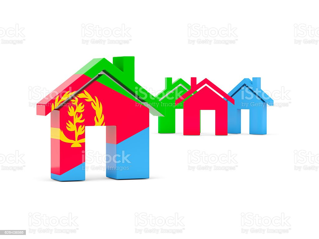 Flag of eritrea, home icon stock photo