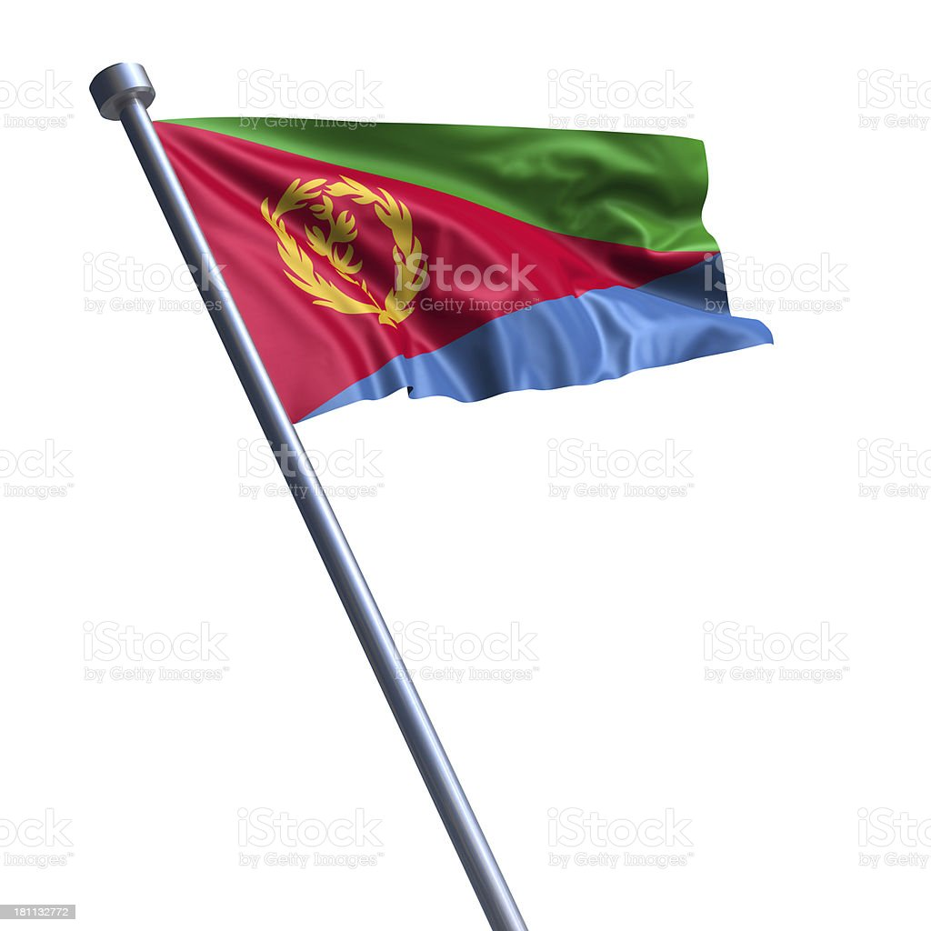 Flag of Eritrea isolated on white stock photo