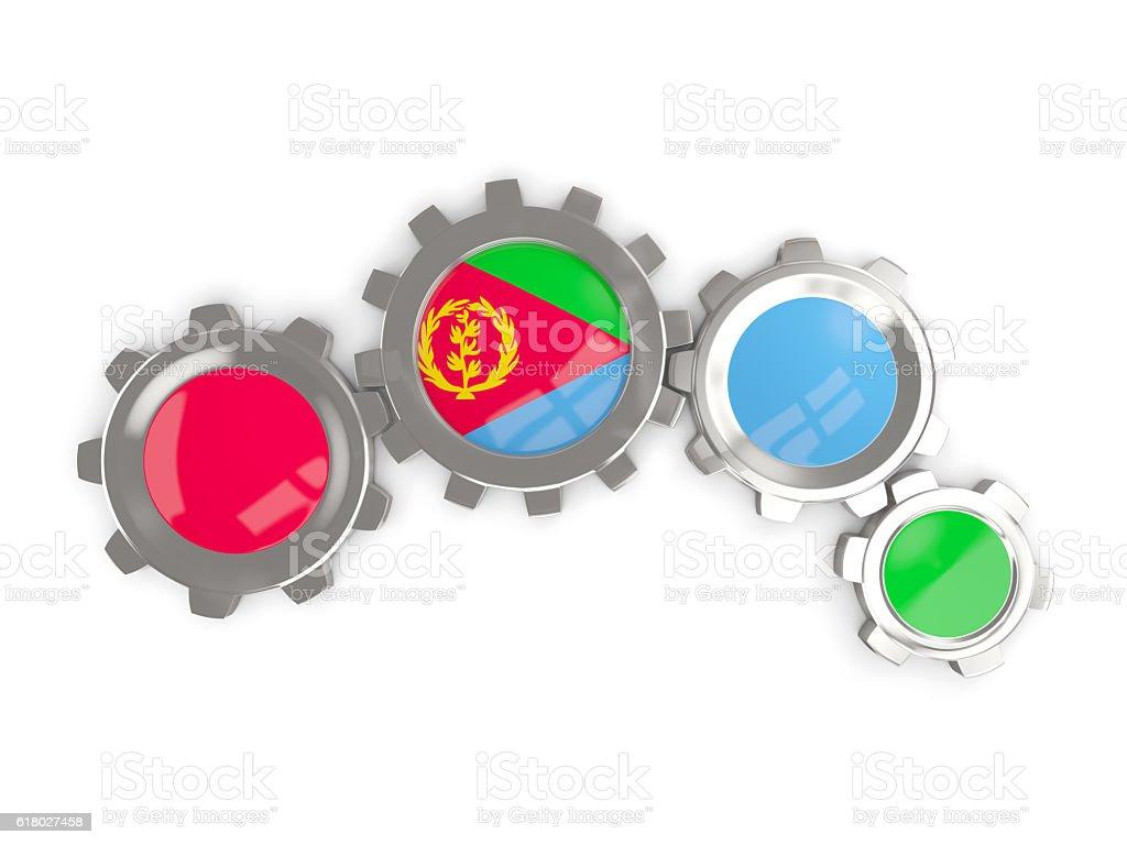 Flag of eritrea, metallic gears stock photo