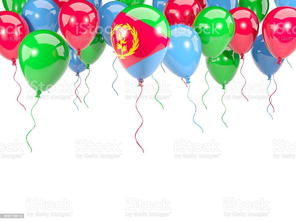 Flag of eritrea on balloons stock photo