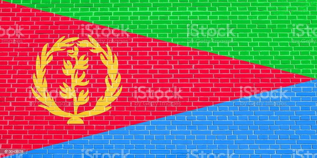Flag of Eritrea on brick wall texture background stock photo