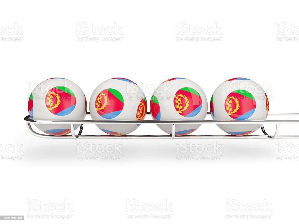 Flag of eritrea on lottery balls stock photo
