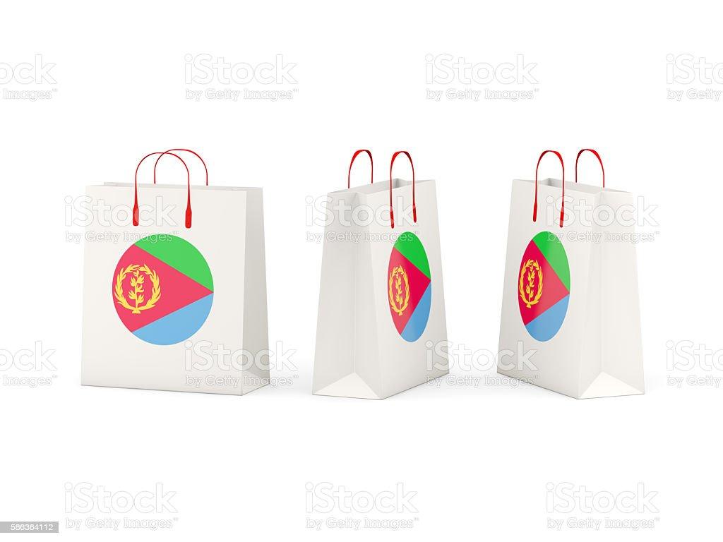 Flag of eritrea on shopping bags stock photo