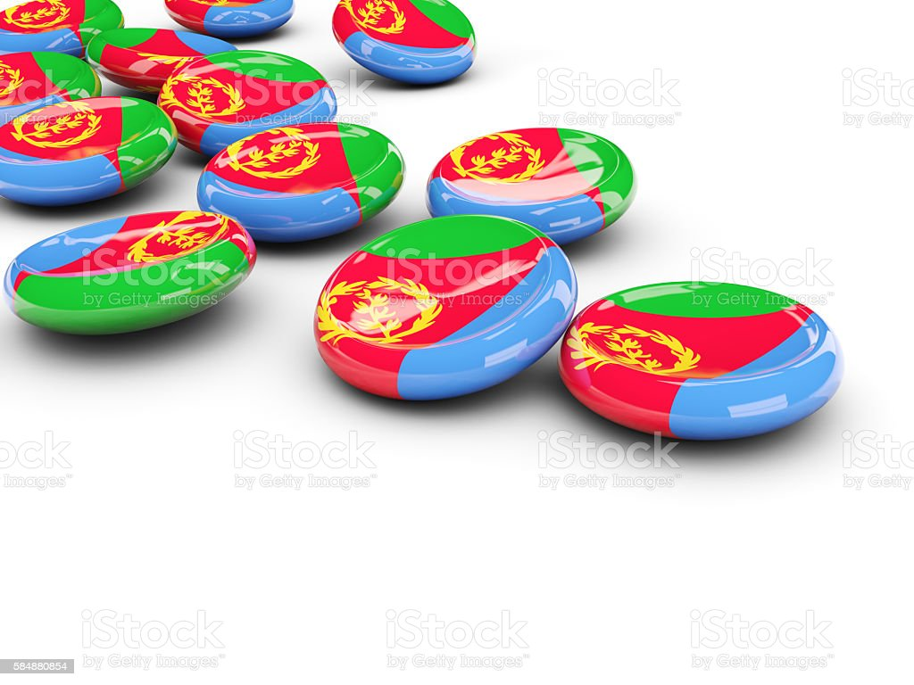 Flag of eritrea, round buttons stock photo