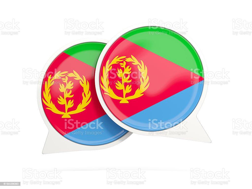 Flag of eritrea, round chat icon stock photo