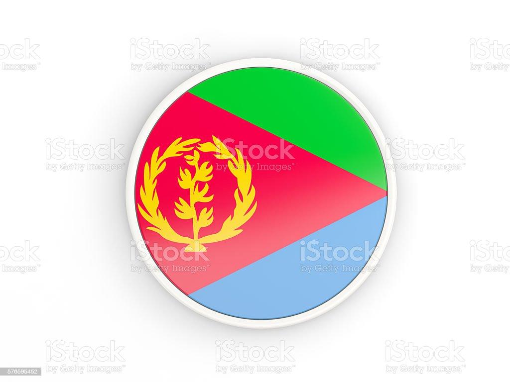 Flag of eritrea. Round icon with frame stock photo