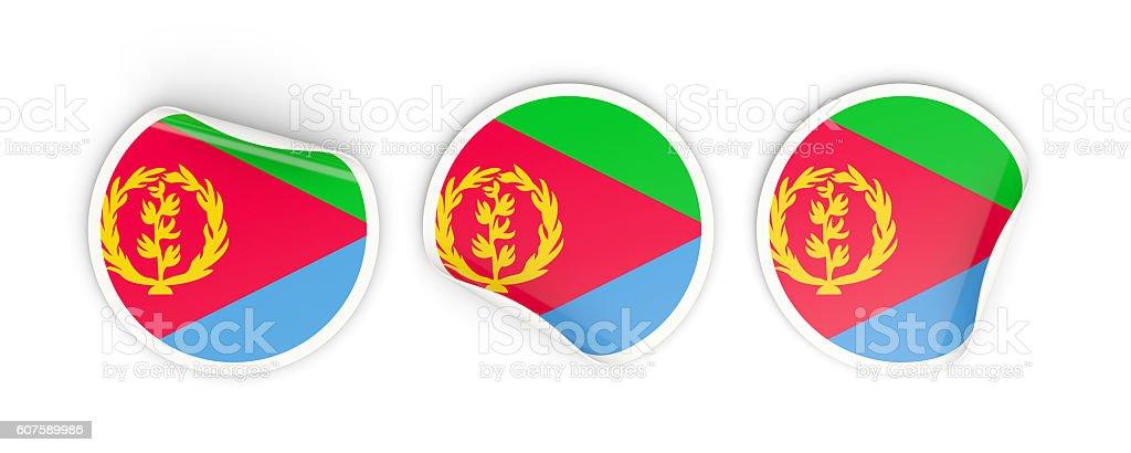 Flag of eritrea, round labels stock photo